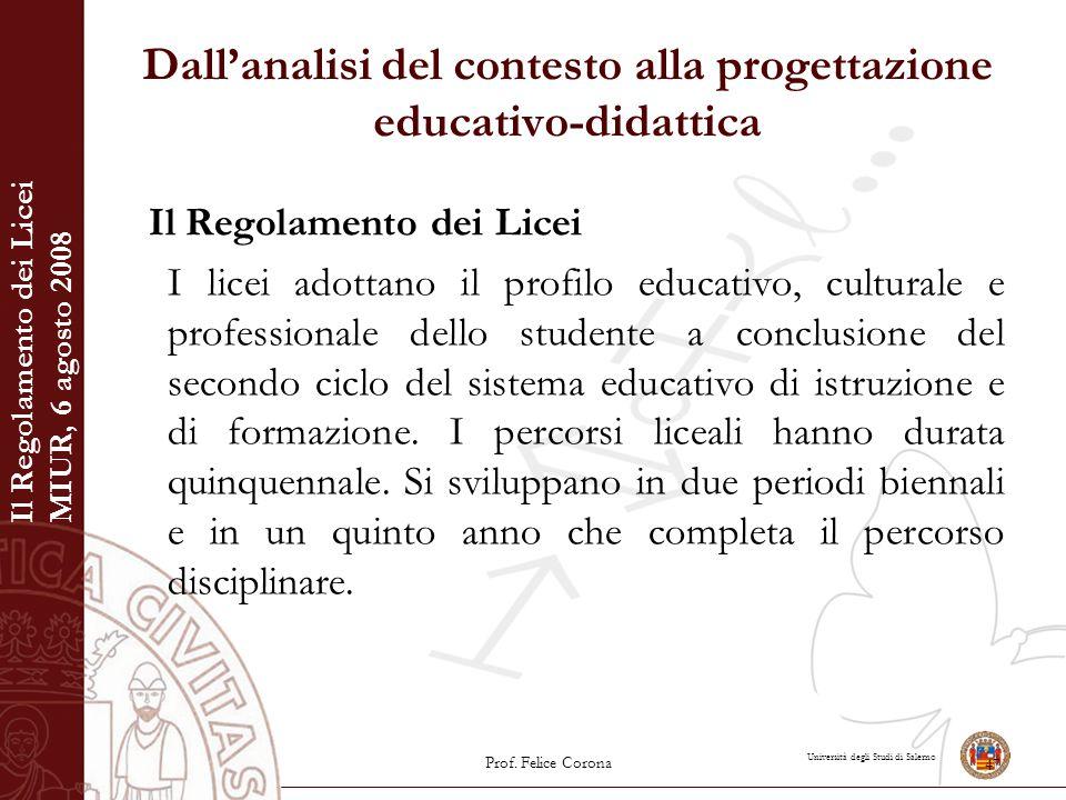 Università degli Studi di Salerno Dall'analisi del contesto alla progettazione educativo-didattica Il Regolamento dei Licei I licei adottano il profil