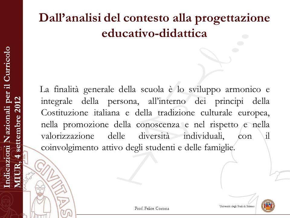Università degli Studi di Salerno Dall'analisi del contesto alla progettazione educativo-didattica La finalità generale della scuola è lo sviluppo arm