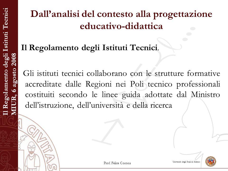 Università degli Studi di Salerno Dall'analisi del contesto alla progettazione educativo-didattica Il Regolamento degli Istituti Tecnici. Gli istituti