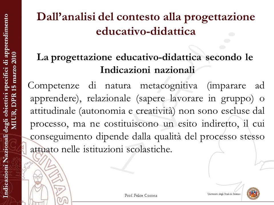 Università degli Studi di Salerno Dall'analisi del contesto alla progettazione educativo-didattica La progettazione educativo-didattica secondo le Ind