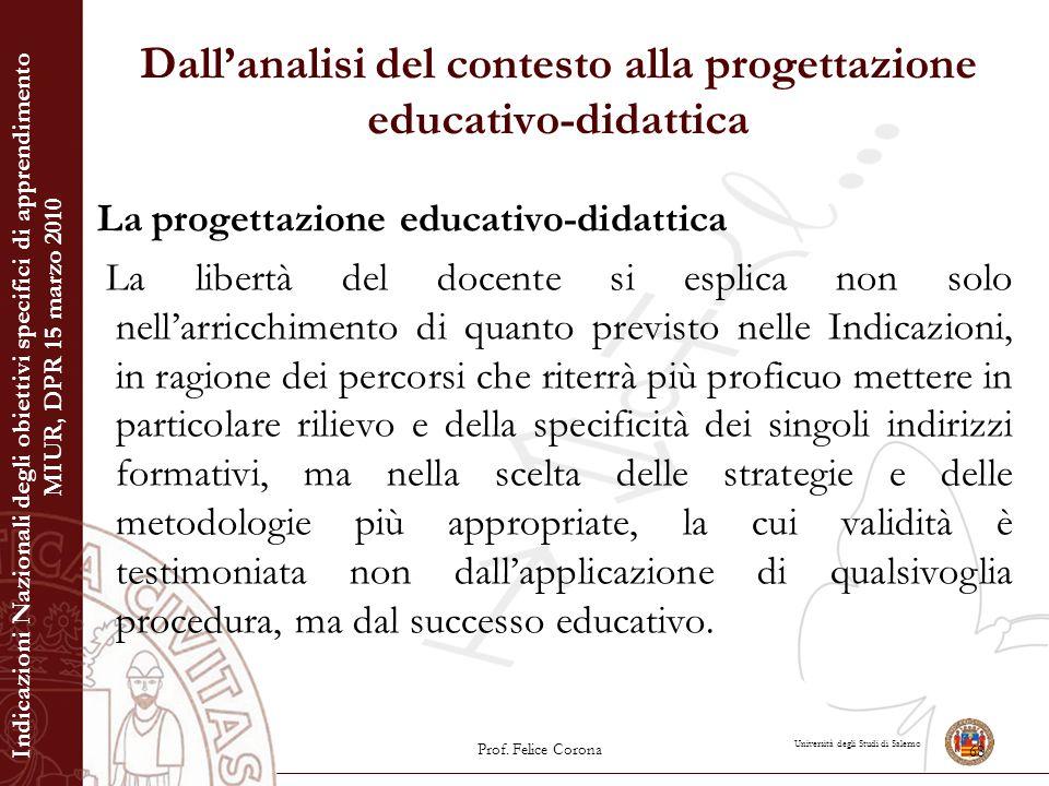 Università degli Studi di Salerno Dall'analisi del contesto alla progettazione educativo-didattica La progettazione educativo-didattica La libertà del