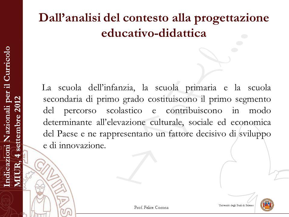 Università degli Studi di Salerno Dall'analisi del contesto alla progettazione educativo-didattica La scuola dell'infanzia, la scuola primaria e la sc
