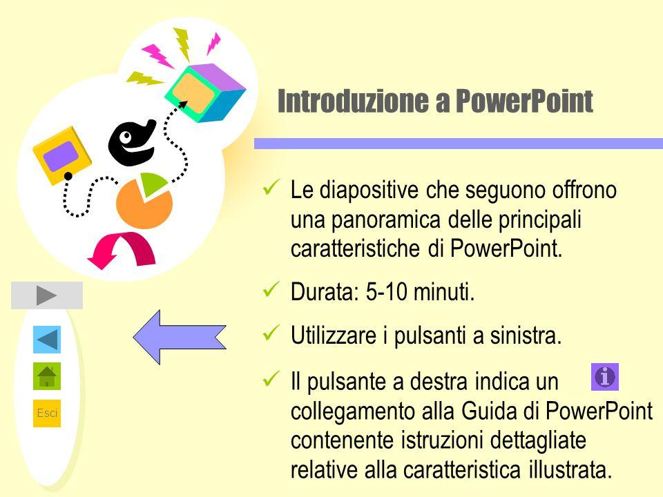 Esci Introduzione a PowerPoint Le diapositive che seguono offrono una panoramica delle principali caratteristiche di PowerPoint. Durata: 5-10 minuti.