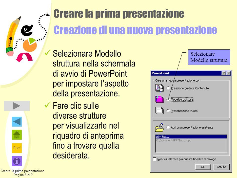 Esci Creare la prima presentazione Creazione di una nuova presentazione Selezionare Modello struttura nella schermata di avvio di PowerPoint per impos