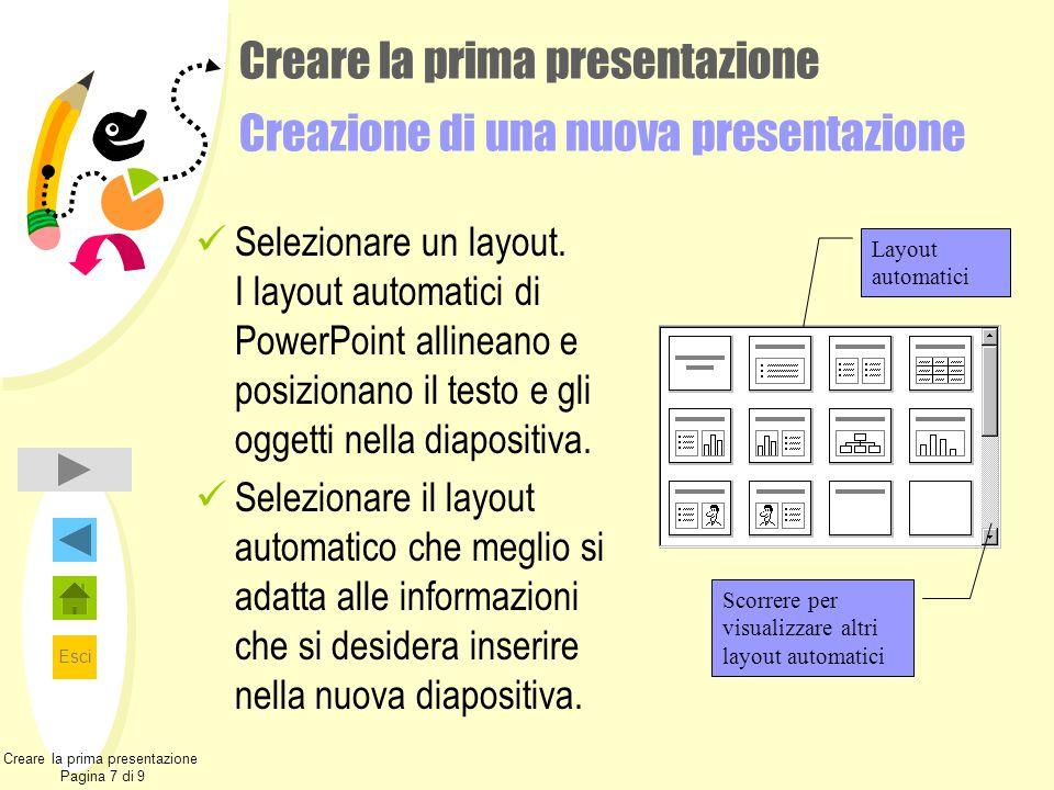 Esci Creare la prima presentazione Creazione di una nuova presentazione Selezionare un layout. I layout automatici di PowerPoint allineano e posiziona
