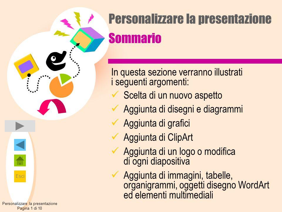 Esci Personalizzare la presentazione Sommario Scelta di un nuovo aspetto Aggiunta di disegni e diagrammi Aggiunta di grafici Aggiunta di ClipArt Aggiu