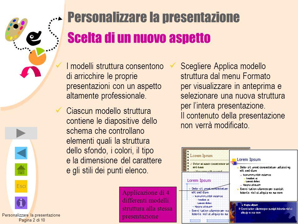 Esci Personalizzare la presentazione Scelta di un nuovo aspetto I modelli struttura consentono di arricchire le proprie presentazioni con un aspetto a