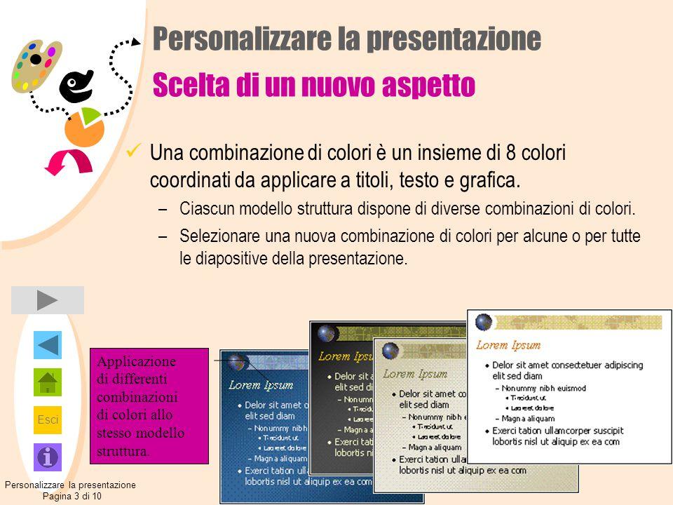 Esci Personalizzare la presentazione Scelta di un nuovo aspetto Una combinazione di colori è un insieme di 8 colori coordinati da applicare a titoli, testo e grafica.