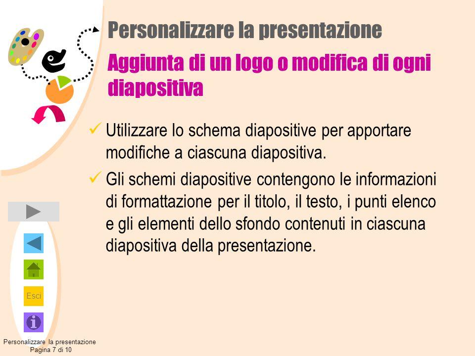 Esci Personalizzare la presentazione Aggiunta di un logo o modifica di ogni diapositiva Utilizzare lo schema diapositive per apportare modifiche a cia