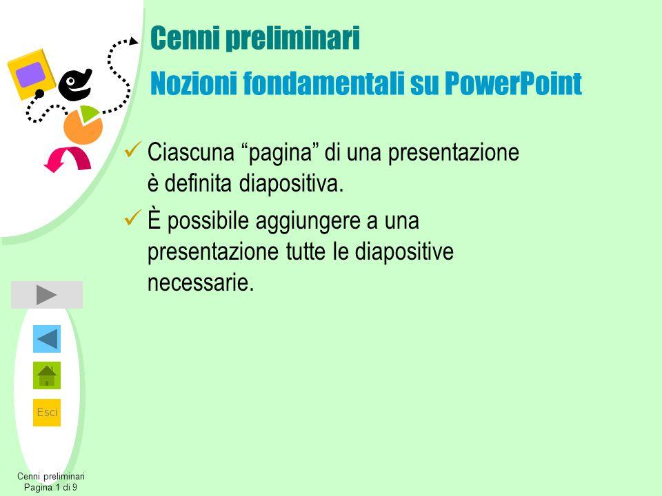 Esci Cenni preliminari Pagina 1 di 9 Cenni preliminari Nozioni fondamentali su PowerPoint Ciascuna pagina di una presentazione è definita diapositiva.