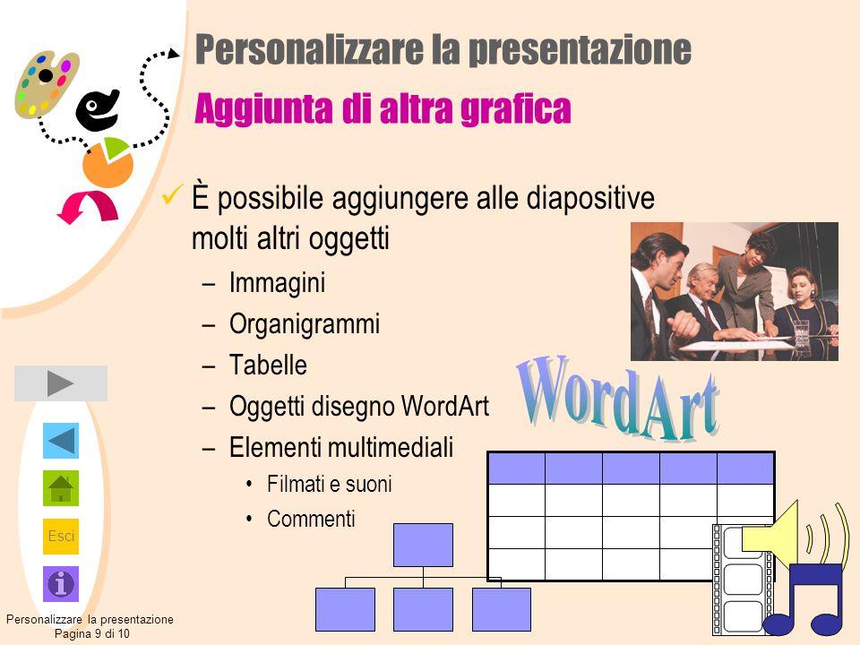 Esci È possibile aggiungere alle diapositive molti altri oggetti –Immagini –Organigrammi –Tabelle –Oggetti disegno WordArt –Elementi multimediali Film