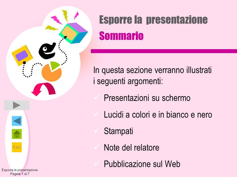 Esci Esporre la presentazione Pagina 1 di 7 Esporre la presentazione Sommario Presentazioni su schermo Lucidi a colori e in bianco e nero Stampati Not