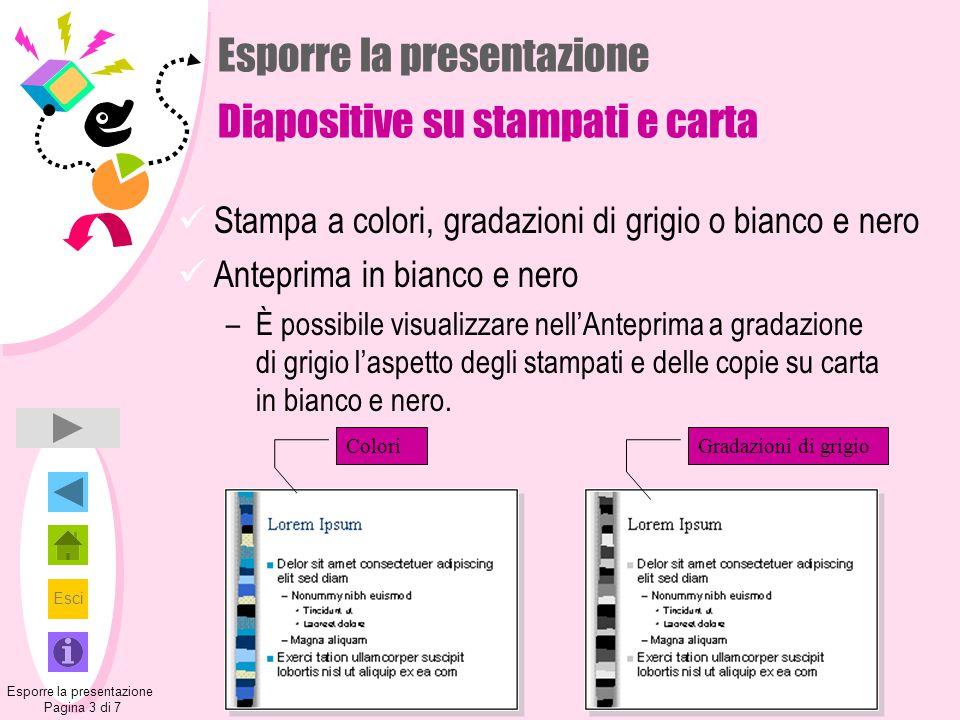 Esci Esporre la presentazione Diapositive su stampati e carta Stampa a colori, gradazioni di grigio o bianco e nero Anteprima in bianco e nero –È poss