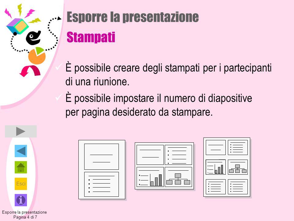 Esci Esporre la presentazione Stampati È possibile creare degli stampati per i partecipanti di una riunione. È possibile impostare il numero di diapos