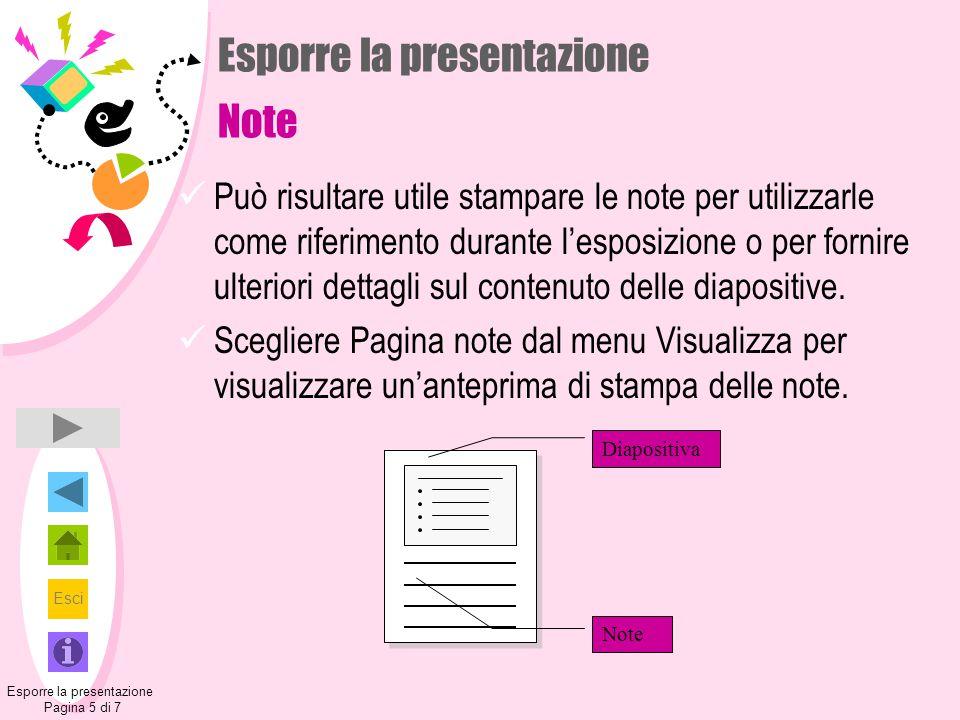 Esci Esporre la presentazione Note Può risultare utile stampare le note per utilizzarle come riferimento durante l'esposizione o per fornire ulteriori dettagli sul contenuto delle diapositive.