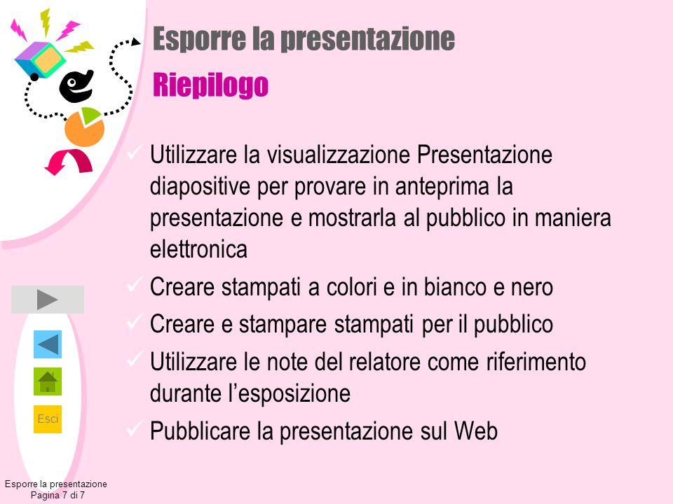 Esci Esporre la presentazione Pagina 7 di 7 Esporre la presentazione Riepilogo Utilizzare la visualizzazione Presentazione diapositive per provare in