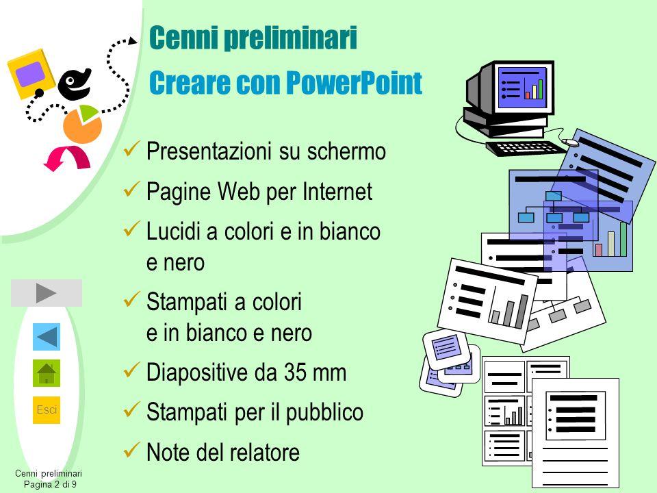 Esci Cenni preliminari Creare con PowerPoint Presentazioni su schermo Pagine Web per Internet Lucidi a colori e in bianco e nero Stampati a colori e i