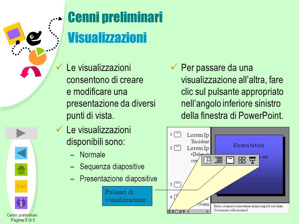 Esci Cenni preliminari Visualizzazioni Le visualizzazioni consentono di creare e modificare una presentazione da diversi punti di vista. Le visualizza
