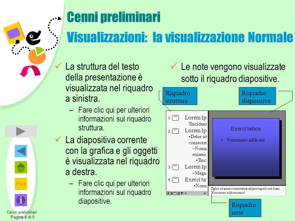 Esci Indietro Cenni preliminari Visualizzazioni: il riquadro struttura Nel riquadro struttura viene visualizzato il testo della presentazione senza alcuna grafica.