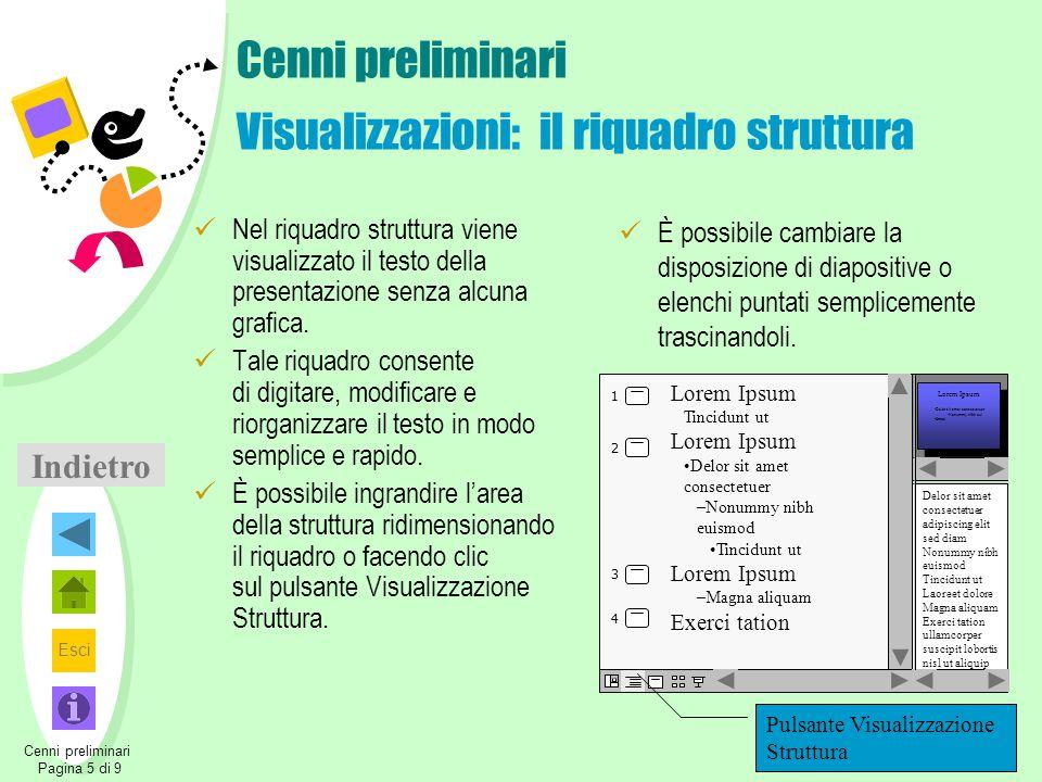 Esci Indietro Cenni preliminari Visualizzazioni: il riquadro struttura Nel riquadro struttura viene visualizzato il testo della presentazione senza al