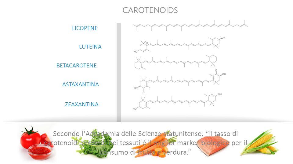 ZEAXANTINA ASTAXANTINA BETACAROTENE LUTEINA LICOPENE Secondo l Accademia delle Scienze statunitense, il tasso di carotenoidi presenti nei tessuti è il miglior marker biologico per il consumo di frutta e verdura.