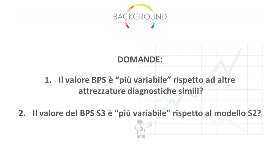 1.Il valore BPS è più variabile rispetto ad altre attrezzature diagnostiche simili.