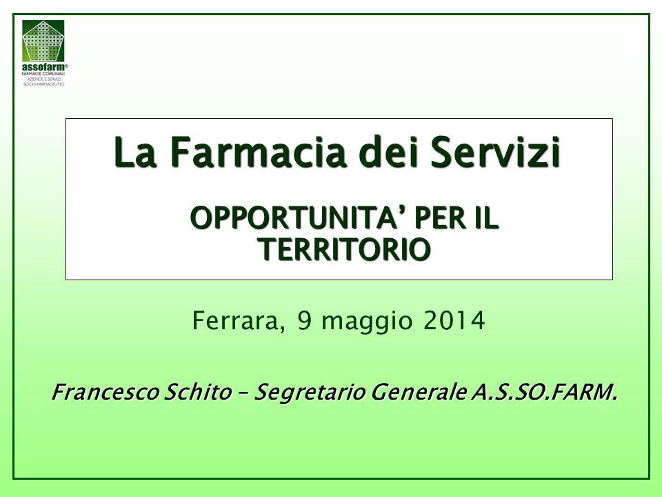 La Farmacia dei Servizi OPPORTUNITA' PER IL TERRITORIO Ferrara, 9 maggio 2014 Francesco Schito – Segretario Generale A.S.SO.FARM.
