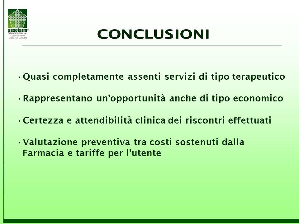 Quasi completamente assenti servizi di tipo terapeutico Rappresentano un'opportunità anche di tipo economico Certezza e attendibilità clinica dei risc