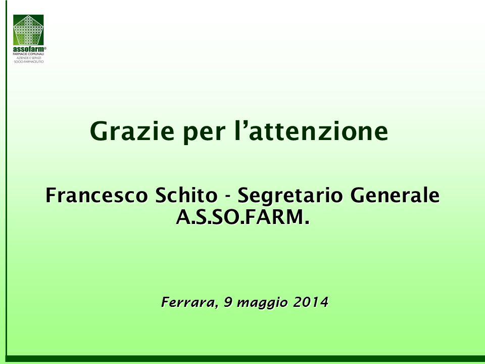 Grazie per l'attenzione Francesco Schito - Segretario Generale A.S.SO.FARM. Ferrara, 9 maggio 2014