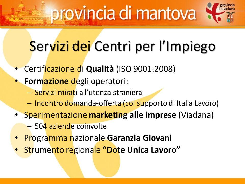Servizi dei Centri per l'Impiego Certificazione di Qualità (ISO 9001:2008) Formazione degli operatori: – Servizi mirati all'utenza straniera – Incontr