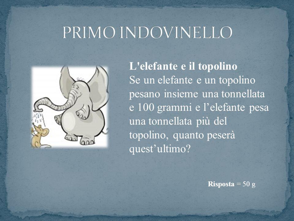 L'elefante e il topolino Se un elefante e un topolino pesano insieme una tonnellata e 100 grammi e l'elefante pesa una tonnellata più del topolino, qu