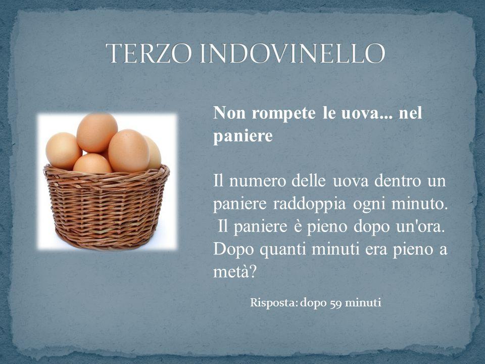 Non rompete le uova... nel paniere Il numero delle uova dentro un paniere raddoppia ogni minuto. Il paniere è pieno dopo un'ora. Dopo quanti minuti er