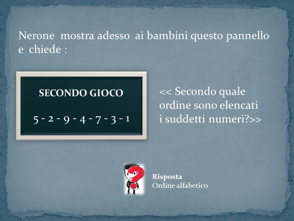 Nerone mostra adesso ai bambini questo pannello e chiede : << Secondo quale ordine sono elencati i suddetti numeri?>> Risposta Ordine alfabetico