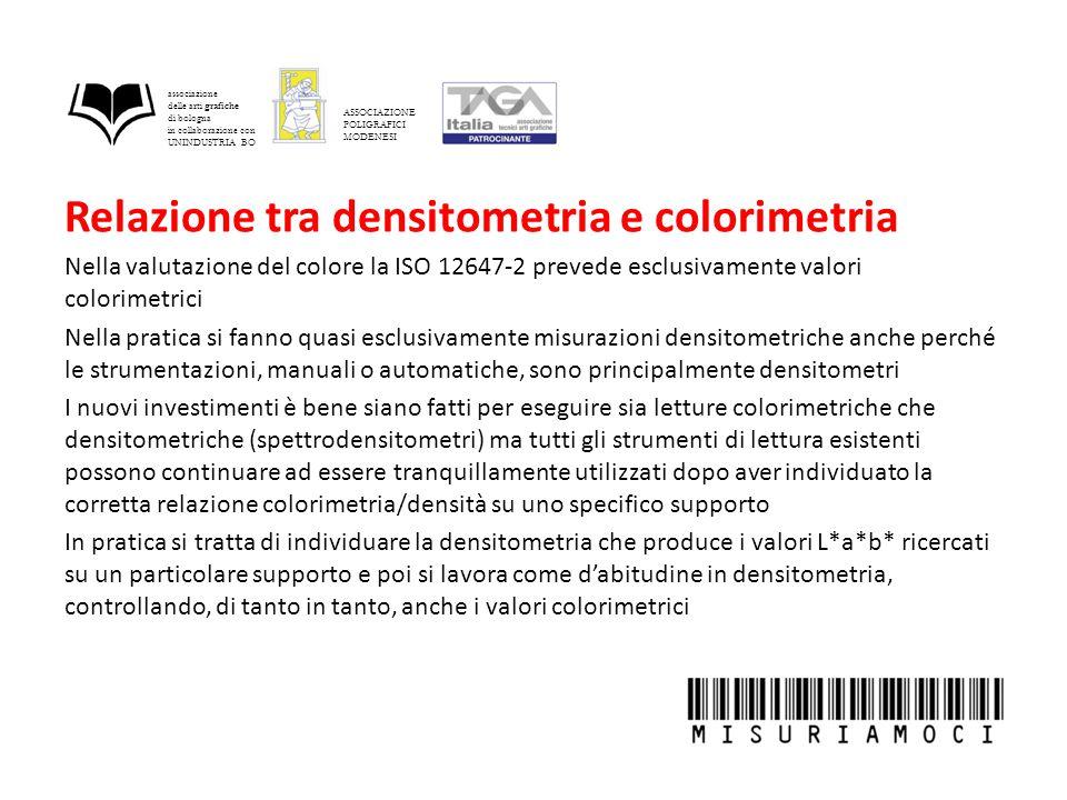 Relazione tra densitometria e colorimetria Nella valutazione del colore la ISO 12647-2 prevede esclusivamente valori colorimetrici Nella pratica si fanno quasi esclusivamente misurazioni densitometriche anche perché le strumentazioni, manuali o automatiche, sono principalmente densitometri I nuovi investimenti è bene siano fatti per eseguire sia letture colorimetriche che densitometriche (spettrodensitometri) ma tutti gli strumenti di lettura esistenti possono continuare ad essere tranquillamente utilizzati dopo aver individuato la corretta relazione colorimetria/densità su uno specifico supporto In pratica si tratta di individuare la densitometria che produce i valori L*a*b* ricercati su un particolare supporto e poi si lavora come d'abitudine in densitometria, controllando, di tanto in tanto, anche i valori colorimetrici associazione delle arti grafiche di bologna in collaborazione con UNINDUSTRIA BO ASSOCIAZIONE POLIGRAFICI MODENESI