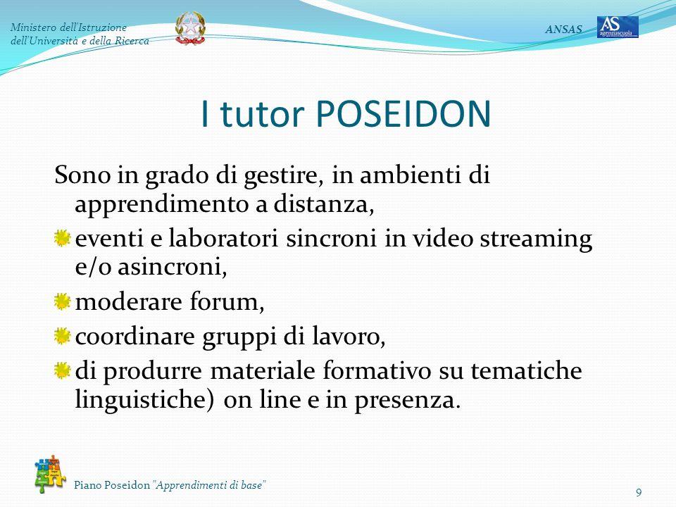 ANSAS Ministero dell'Istruzione dell'Università e della Ricerca Piano Poseidon