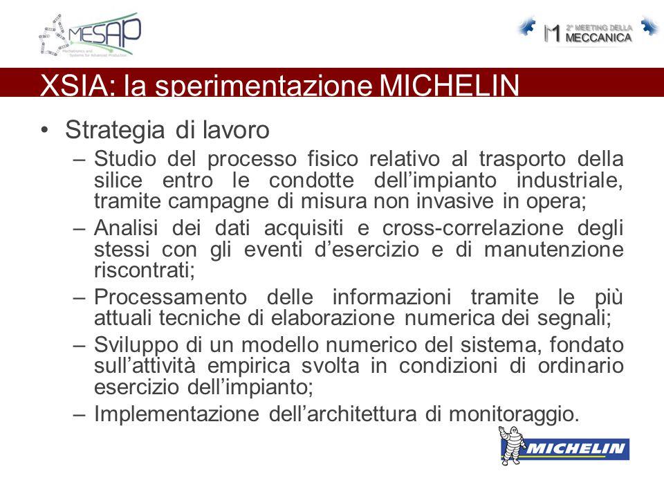 XSIA: la sperimentazione MICHELIN Strategia di lavoro –Studio del processo fisico relativo al trasporto della silice entro le condotte dell'impianto i