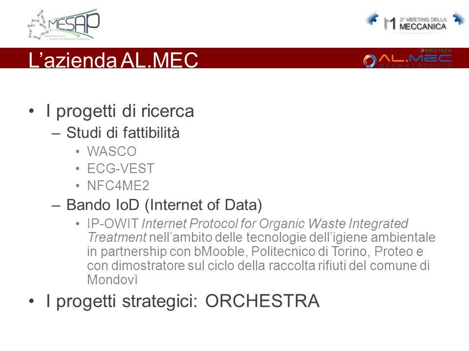 L'azienda AL.MEC I progetti di ricerca –Studi di fattibilità WASCO ECG-VEST NFC4ME2 –Bando IoD (Internet of Data) IP-OWIT Internet Protocol for Organic Waste Integrated Treatment nell'ambito delle tecnologie dell'igiene ambientale in partnership con bMooble, Politecnico di Torino, Proteo e con dimostratore sul ciclo della raccolta rifiuti del comune di Mondovì I progetti strategici: ORCHESTRA