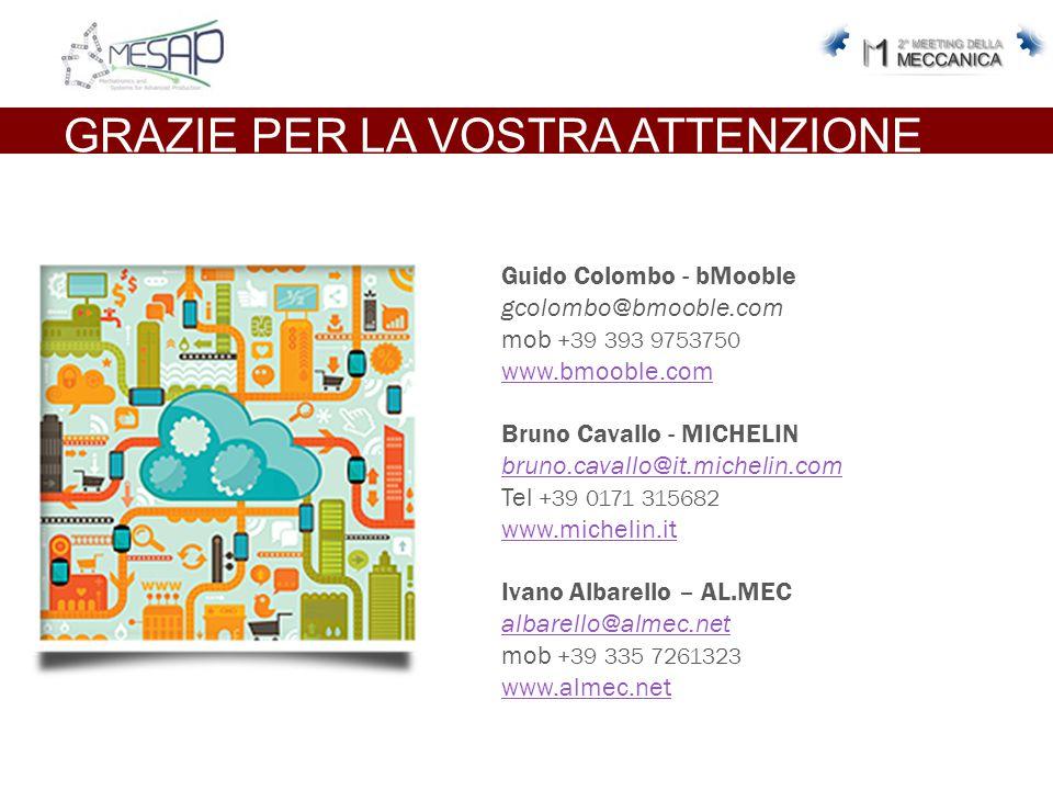 GRAZIE PER LA VOSTRA ATTENZIONE Guido Colombo - bMooble gcolombo@bmooble.com mob +39 393 9753750 www.bmooble.com Bruno Cavallo - MICHELIN bruno.cavallo@it.michelin.com Tel +39 0171 315682 www.michelin.it Ivano Albarello – AL.MEC albarello@almec.net mob +39 335 7261323 www.almec.net