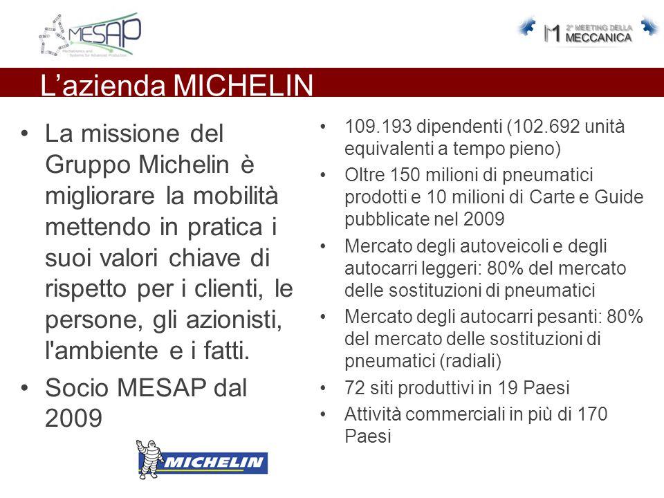 L'azienda MICHELIN La missione del Gruppo Michelin è migliorare la mobilità mettendo in pratica i suoi valori chiave di rispetto per i clienti, le per