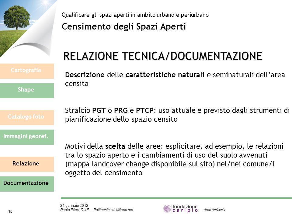 24 gennaio 2012 Paolo Pileri, DIAP – Politecnico di Milano per 10 Area Ambiente Censimento degli Spazi Aperti Qualificare gli spazi aperti in ambito u