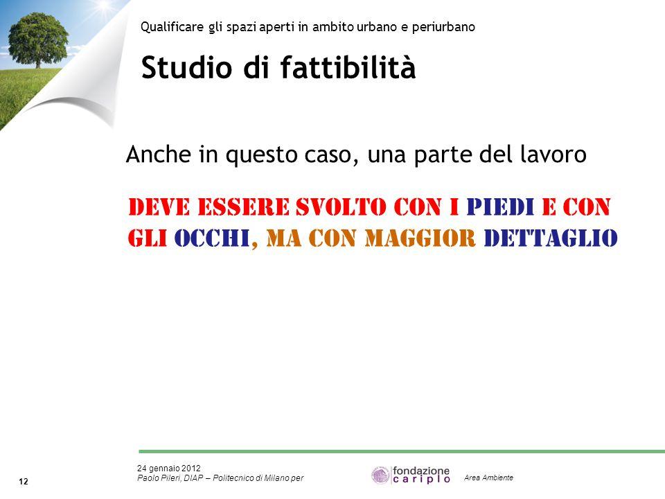 24 gennaio 2012 Paolo Pileri, DIAP – Politecnico di Milano per 12 Area Ambiente Studio di fattibilità Qualificare gli spazi aperti in ambito urbano e