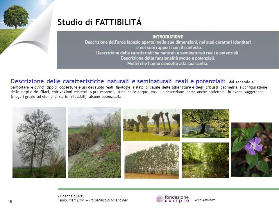 24 gennaio 2012 Paolo Pileri, DIAP – Politecnico di Milano per 15 Area Ambiente Studio di FATTIBILITÁ Descrizione delle caratteristiche naturali e sem