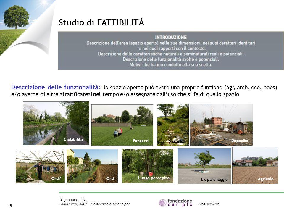 24 gennaio 2012 Paolo Pileri, DIAP – Politecnico di Milano per 16 Area Ambiente Studio di FATTIBILITÁ Descrizione delle funzionalità: lo spazio aperto