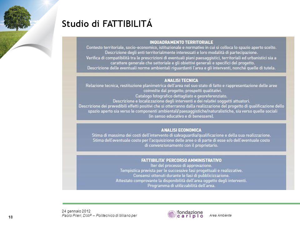 24 gennaio 2012 Paolo Pileri, DIAP – Politecnico di Milano per 18 Area Ambiente Studio di FATTIBILITÁ