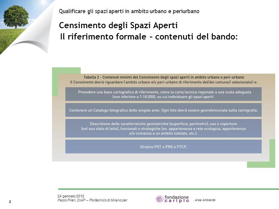 24 gennaio 2012 Paolo Pileri, DIAP – Politecnico di Milano per 2 Area Ambiente Censimento degli Spazi Aperti Qualificare gli spazi aperti in ambito ur