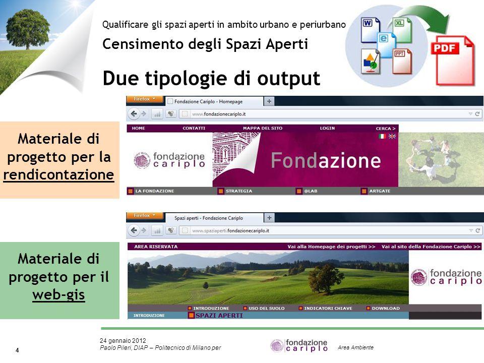 24 gennaio 2012 Paolo Pileri, DIAP – Politecnico di Milano per 4 Area Ambiente Materiale di progetto per la rendicontazione Materiale di progetto per