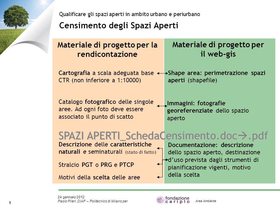 24 gennaio 2012 Paolo Pileri, DIAP – Politecnico di Milano per 5 Area Ambiente Censimento degli Spazi Aperti Qualificare gli spazi aperti in ambito ur