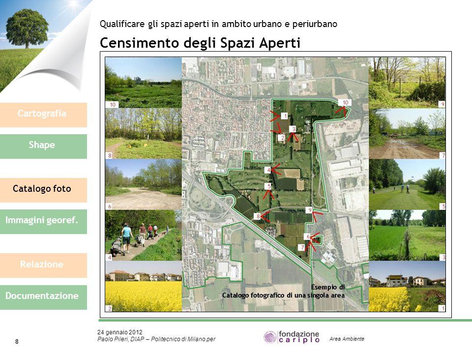 24 gennaio 2012 Paolo Pileri, DIAP – Politecnico di Milano per 8 Area Ambiente Censimento degli Spazi Aperti Qualificare gli spazi aperti in ambito ur