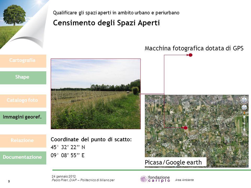 24 gennaio 2012 Paolo Pileri, DIAP – Politecnico di Milano per 9 Area Ambiente Censimento degli Spazi Aperti Qualificare gli spazi aperti in ambito ur