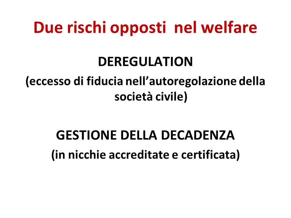 Due rischi opposti nel welfare DEREGULATION (eccesso di fiducia nell'autoregolazione della società civile) GESTIONE DELLA DECADENZA (in nicchie accreditate e certificata)